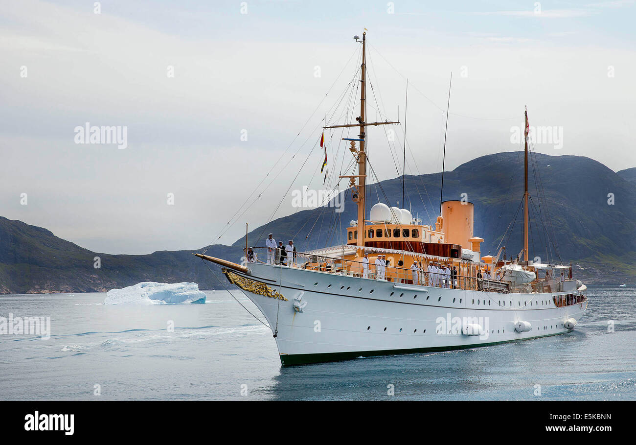 Igaliku, Greenland. 01st Aug, 2014. The Danish Royal Yacht Dannebrog in the Igalikufjord in Igaliku, Greenland, - Stock Image