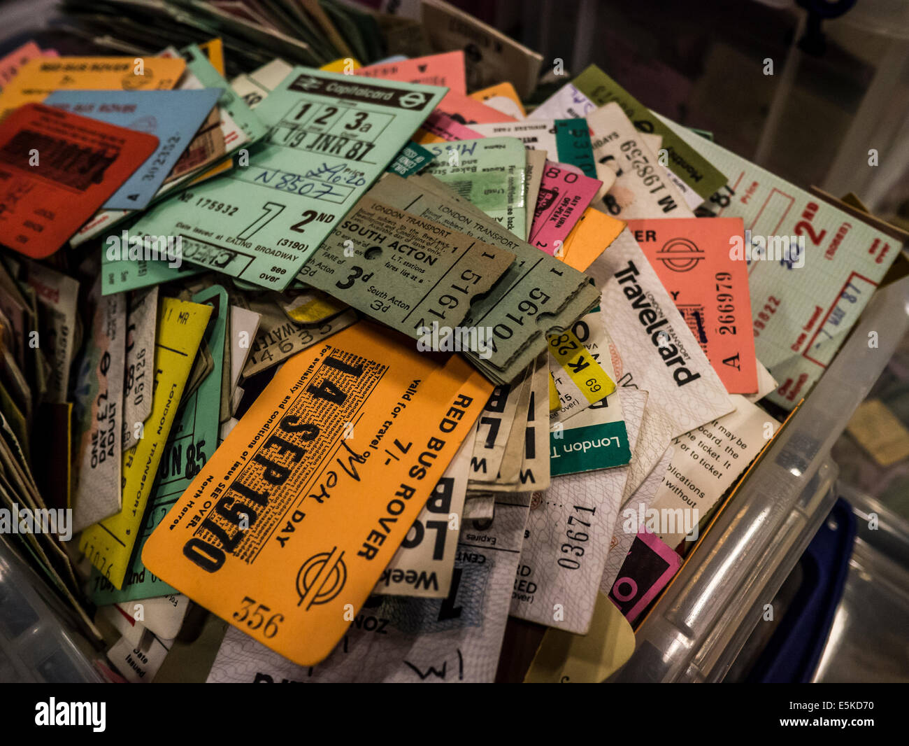 Used  Bus and Train tickets, taken at London Transport Museum Depot - Stock Image