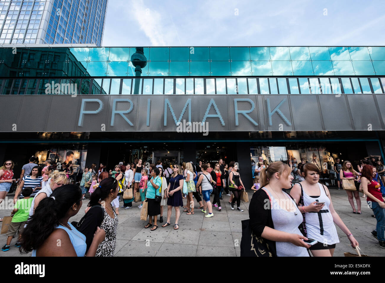 busy new Primark shop in Alexanderplatz in Mitte district of Berlin Germany - Stock Image