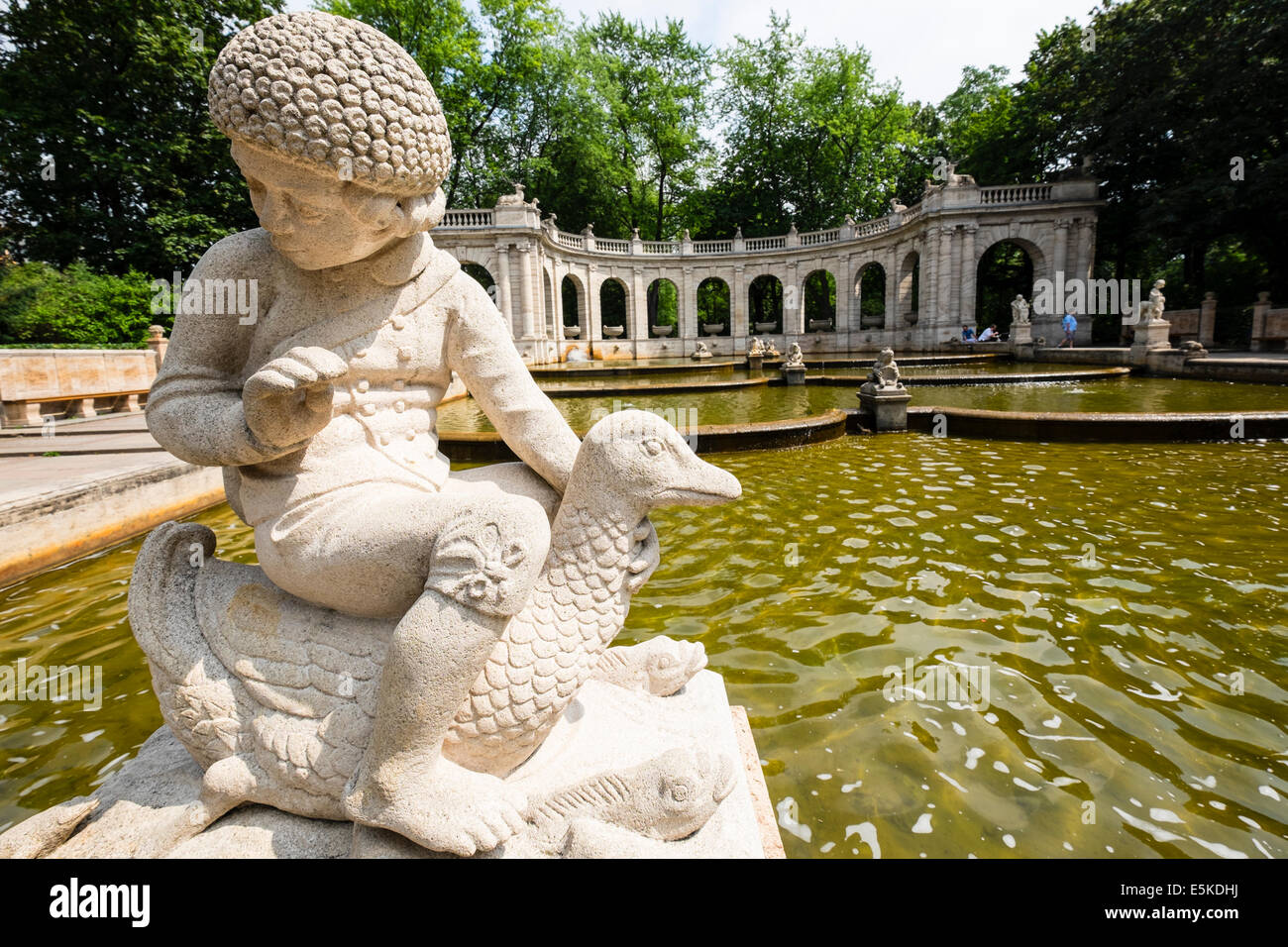 Marchenbrunnen Fairy Tale Fountain in Volkspark Friedrichshain Park Berlin Germany - Stock Image
