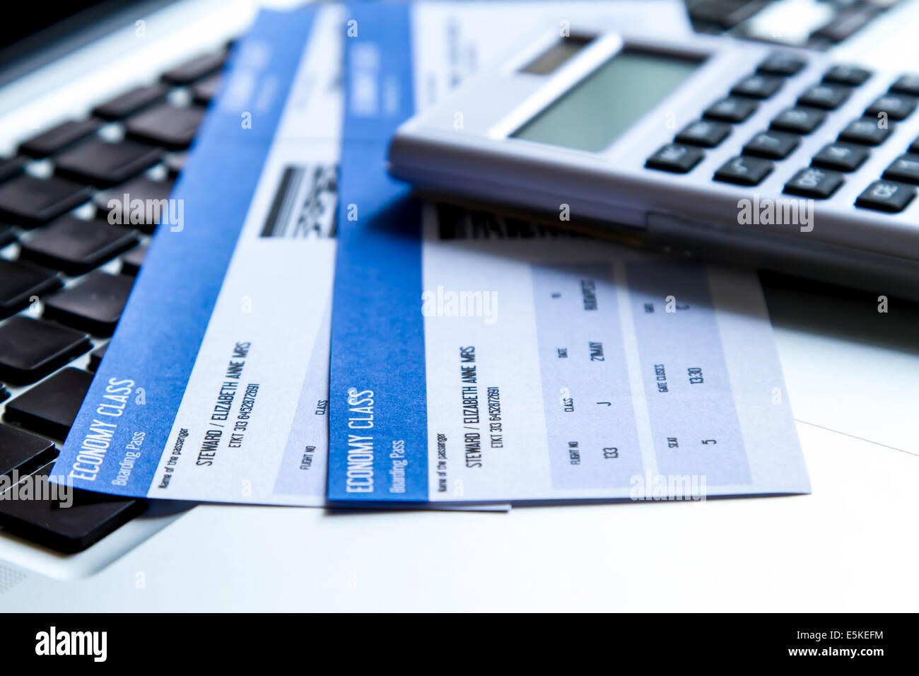 Analyzing airline tickets costs on line - Stock Image