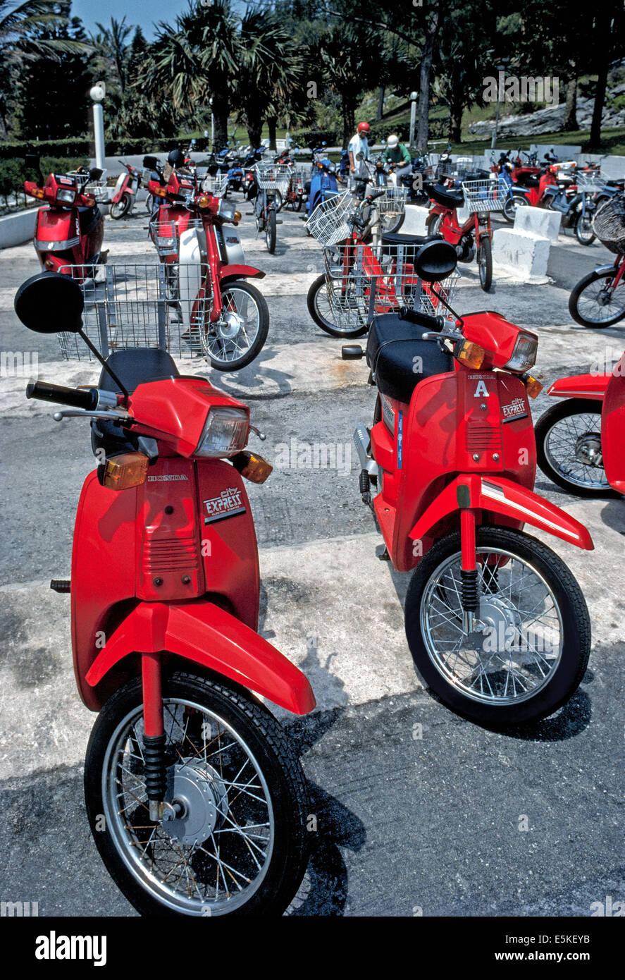Many visitors rent motor scooters (mopeds) to travel around Bermuda, a British island territory popular for vacations - Stock Image