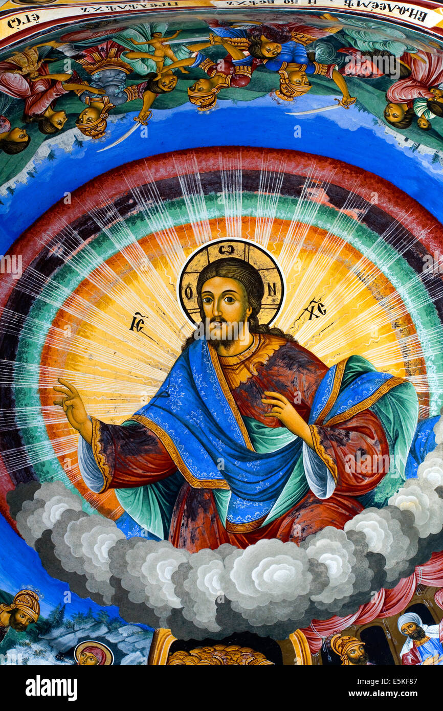 Iconic mural of Jesus painted on the wall of the Rila Monastery in Bulgaria - Stock Image