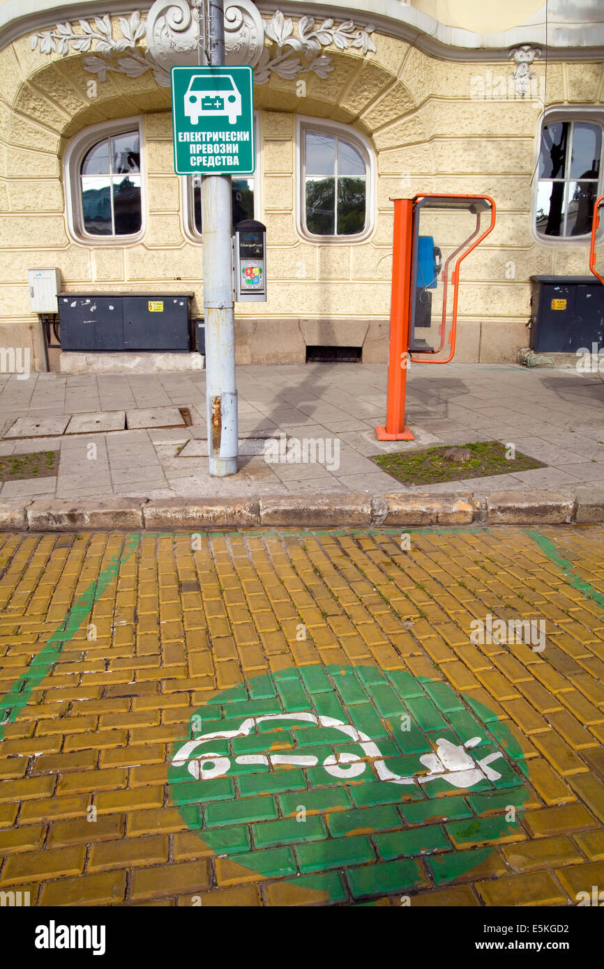 Electric car Charging point or station in Sofia, Bulgaria - Stock Image