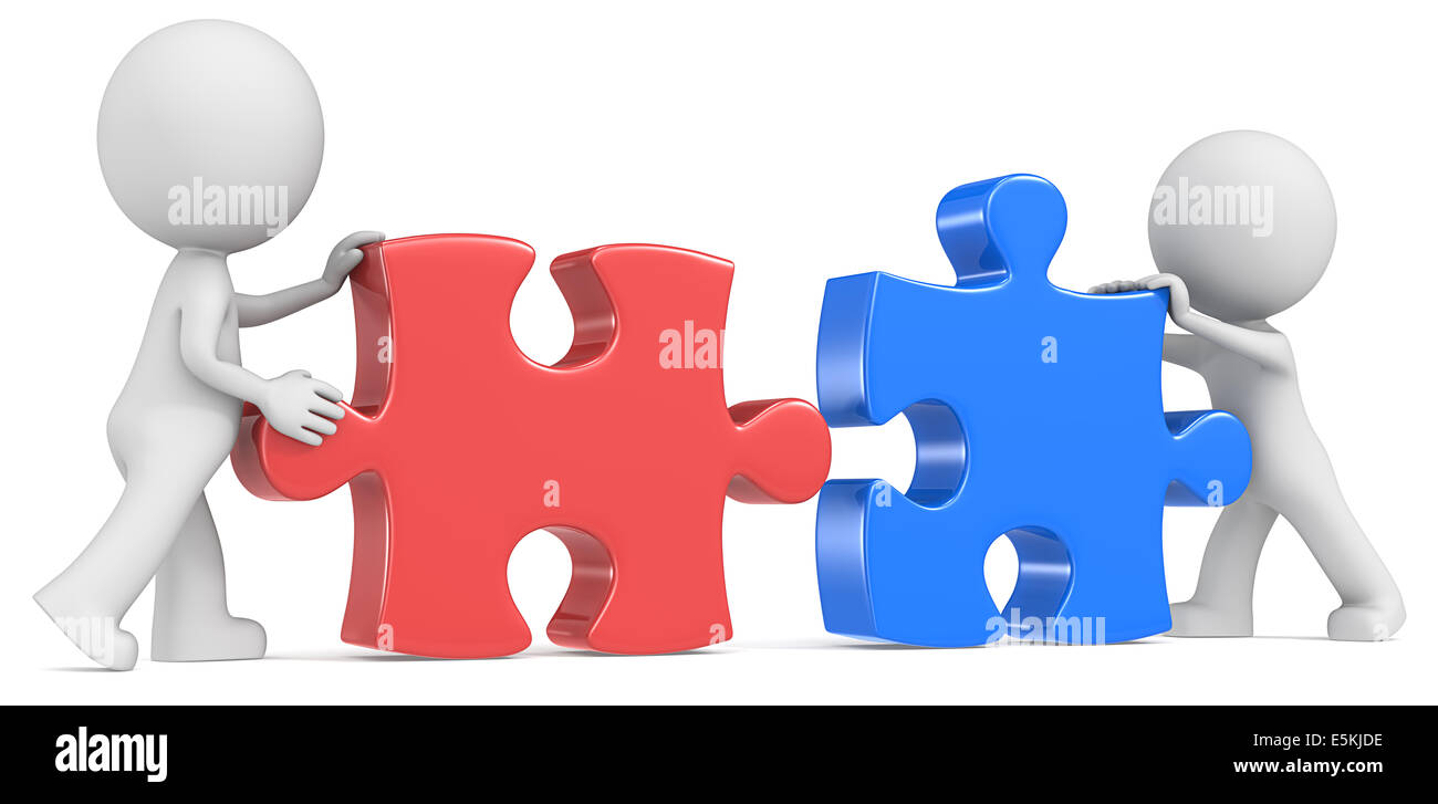 Dude The Partners X 2 Putting Puzzle Pieces Together Red And Blue