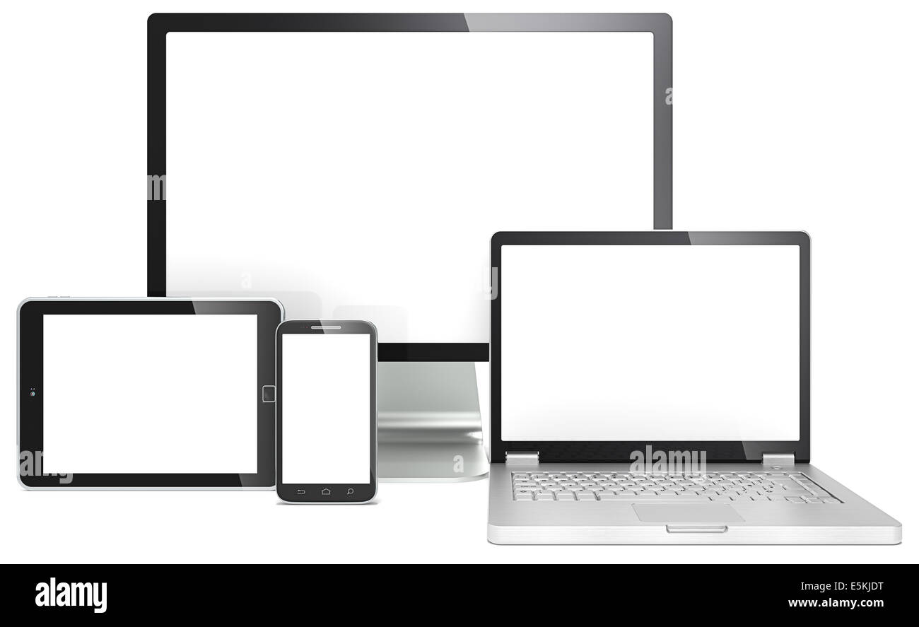 Blank RWD concept. Smartphone,laptop,screen and tablet computer. No branded. - Stock Image