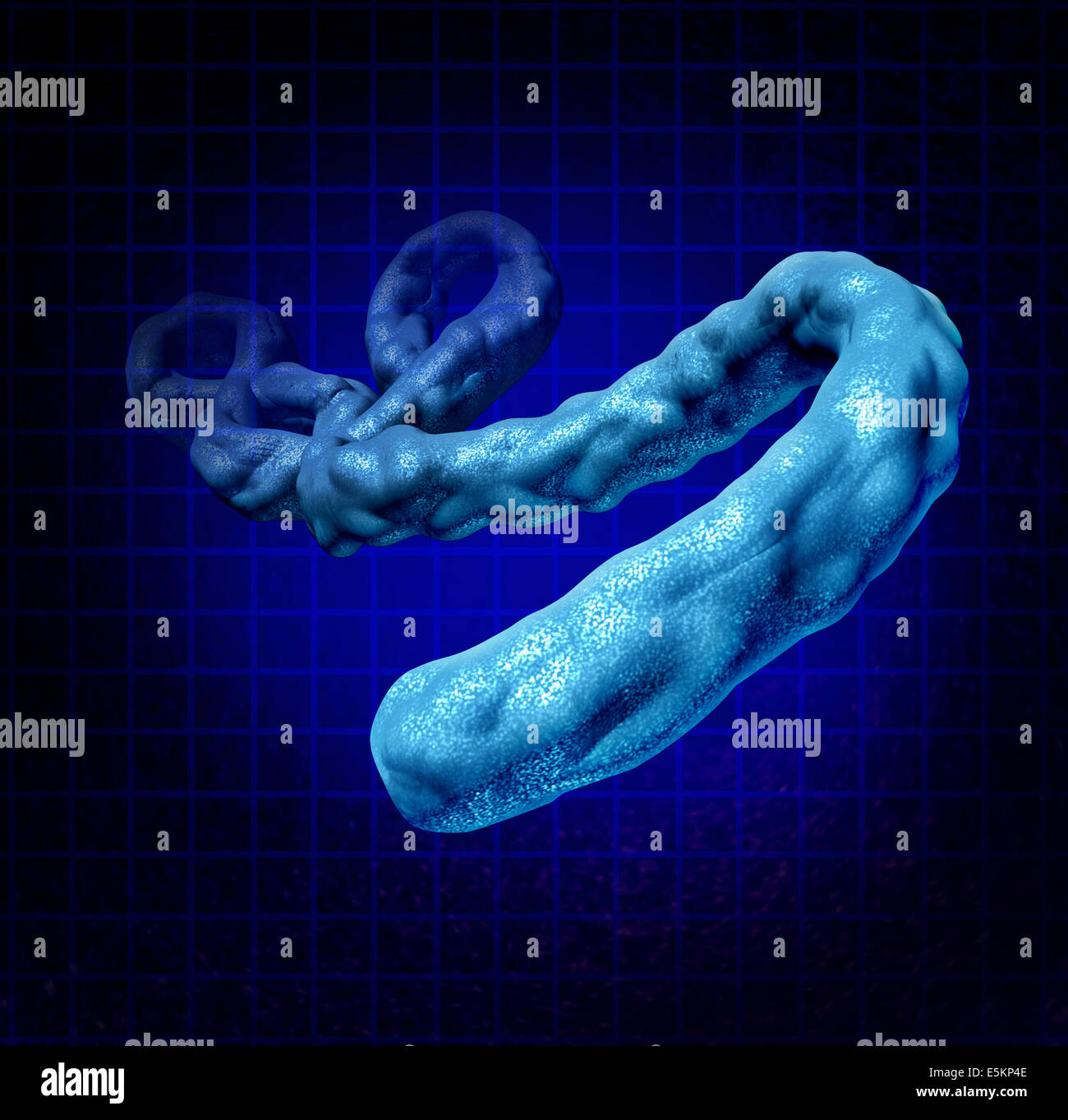Ebola virus disease medical concept as a three dimensional dangerous microbe causing symptoms as hemorrhagic fever - Stock Image