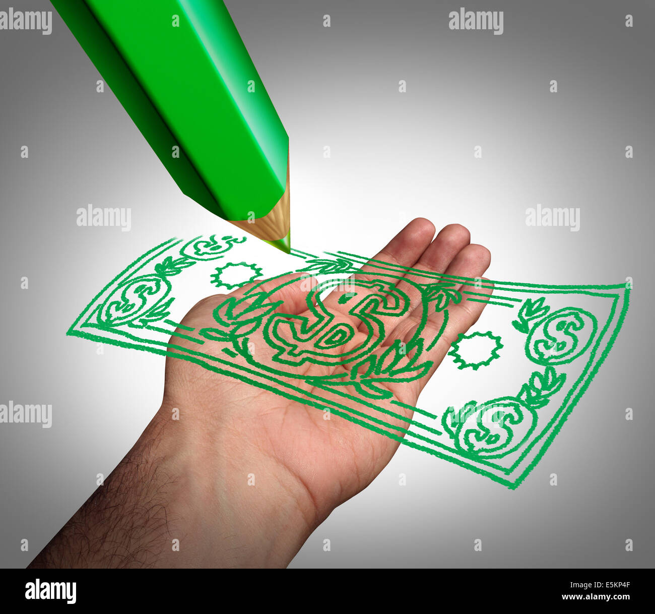 Making money business concept as a green pencil drawing a dollar currency on an open hand as a symbol of creating - Stock Image