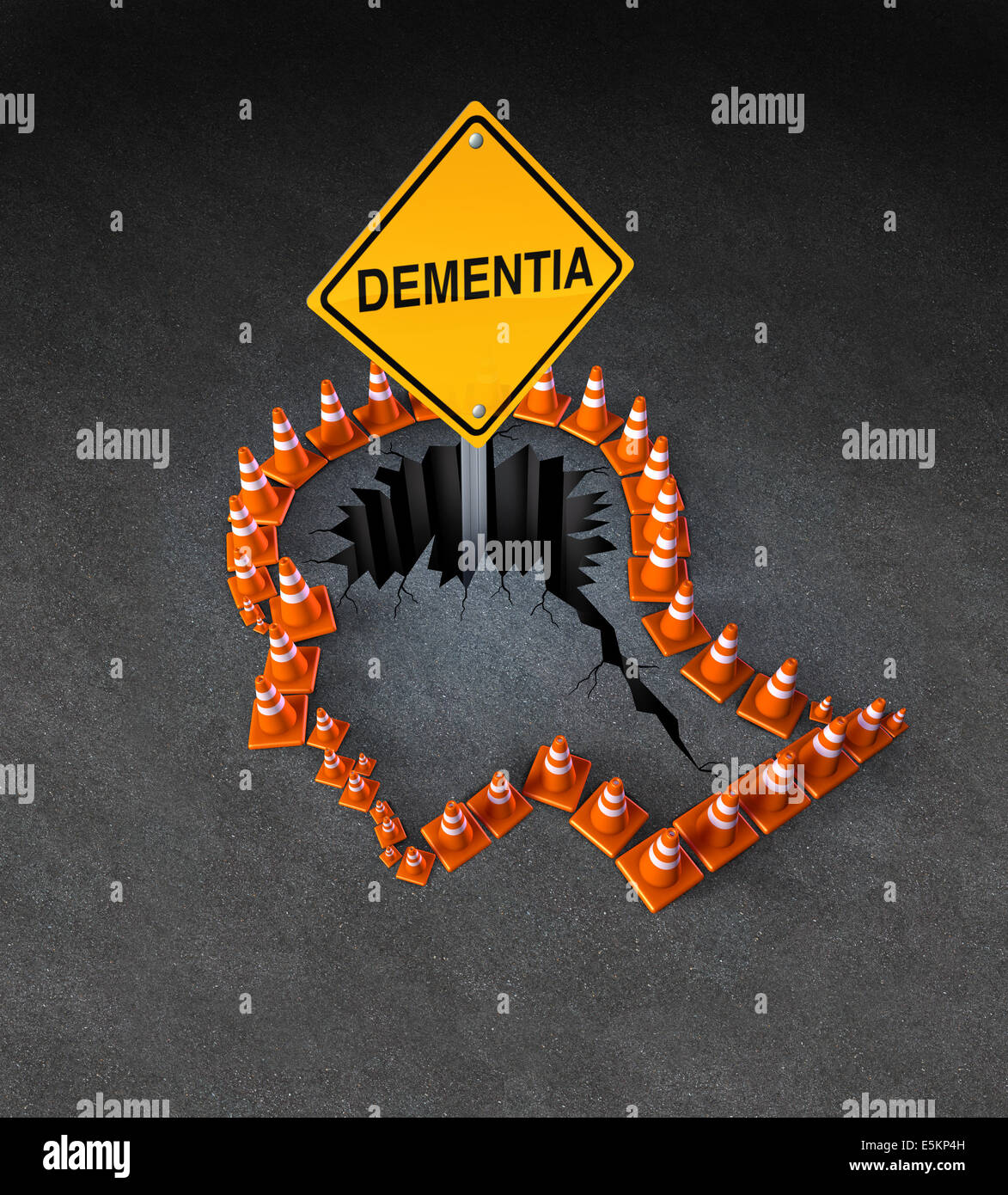 Dementia handicap concept as a group of three dimensional traffic cones shaped as a human head with a warning road - Stock Image