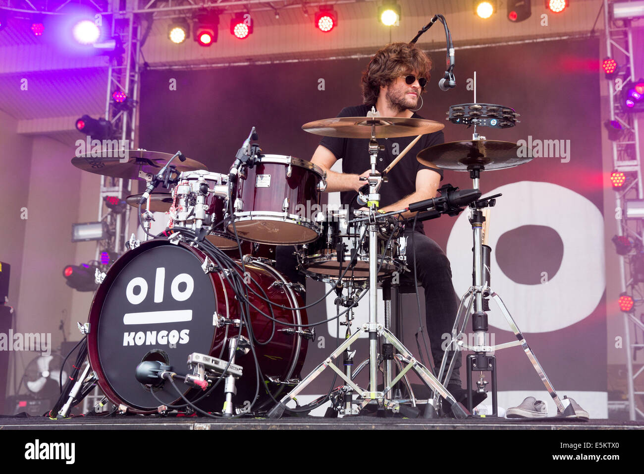 Chicago, Illinois, USA. 3rd Aug, 2014. Drummer JESSE KONGOS of the band Kongos performs live at the 2014 Lollapalooza - Stock Image