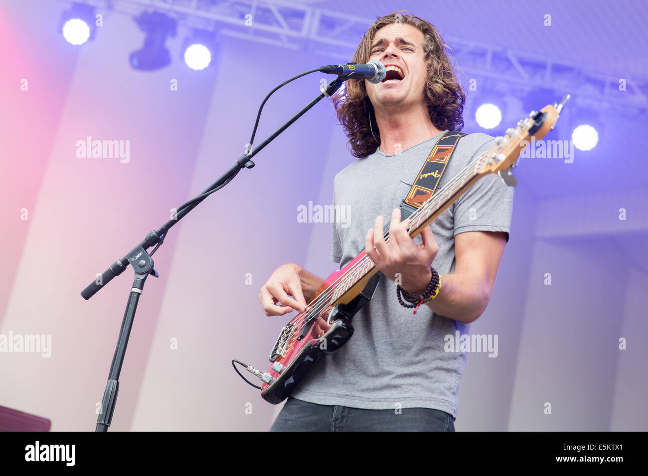 Chicago, Illinois, USA. 3rd Aug, 2014. Bassist DYLAN KONGOS of the band Kongos performs live at the 2014 Lollapalooza - Stock Image