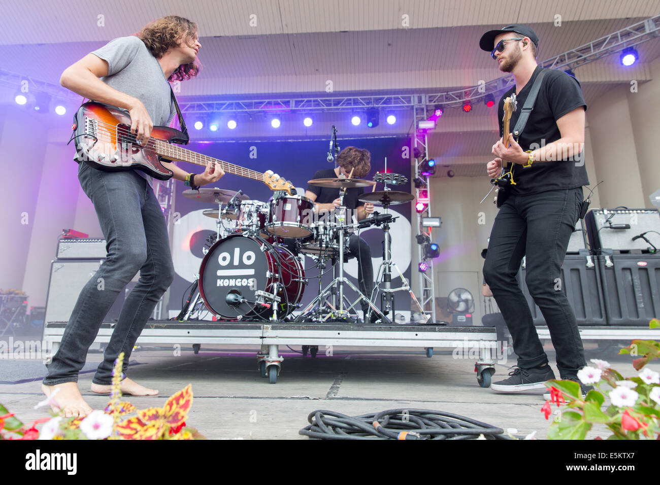 Chicago, Illinois, USA. 3rd Aug, 2014. Kongos perform live at the 2014 Lollapalooza Music Festival in Chicago, Illinois - Stock Image