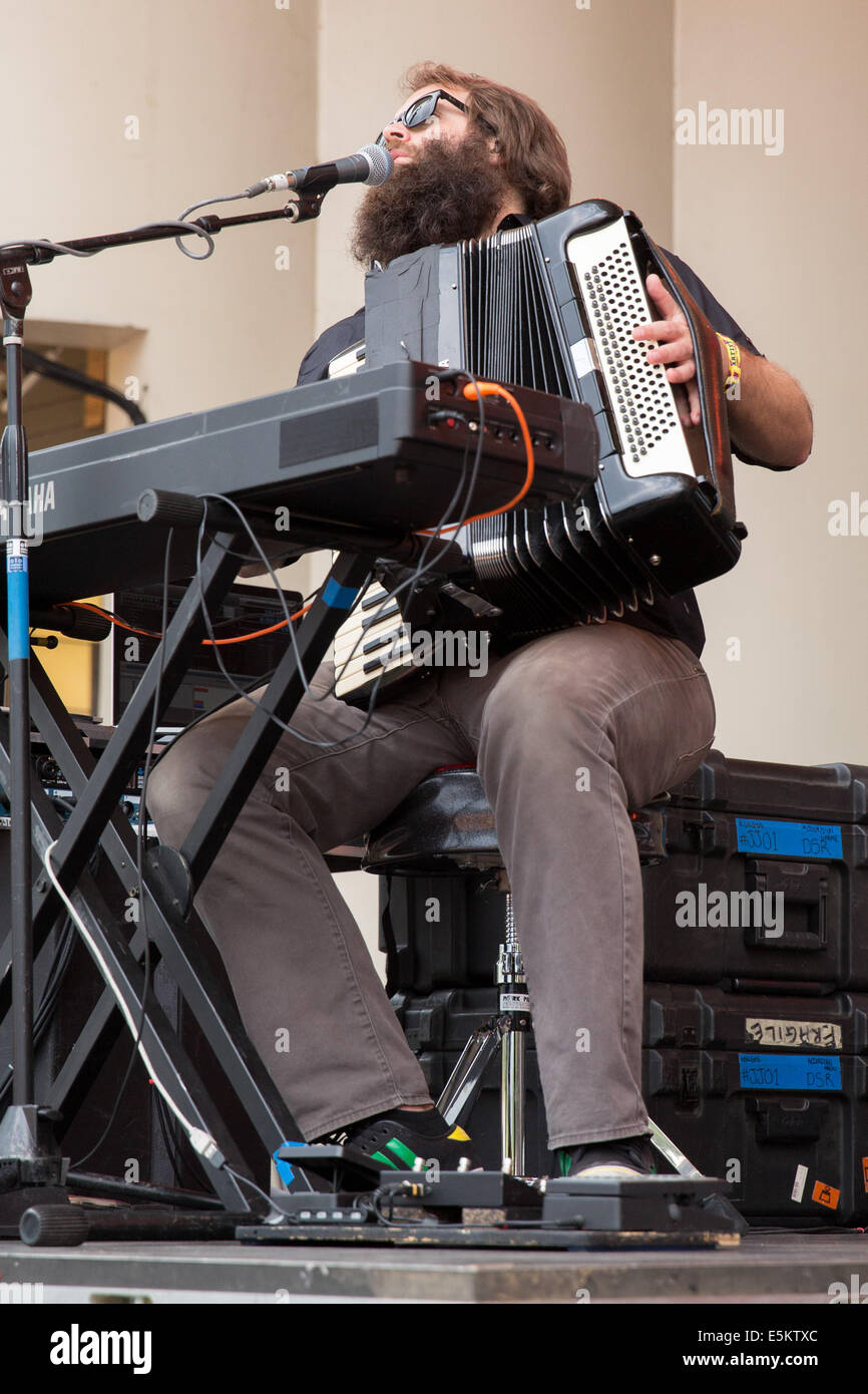 Chicago, Illinois, USA. 3rd Aug, 2014. JOHNNY KONGOS of the band Kongos performs live at the 2014 Lollapalooza Music - Stock Image