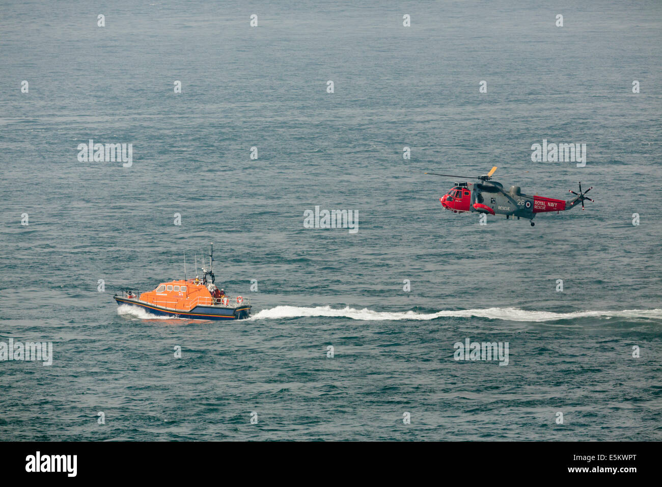 Air Sea Rescue; Lifeboat; Helicopter; Land's End; Cornwall; UK - Stock Image