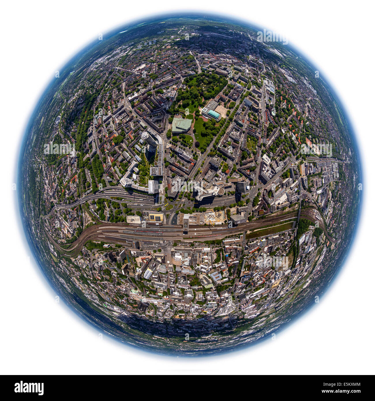 City centre of Essen with the railway station, fisheye, Essen, Ruhr district, city district I, North Rhine-Westphalia, - Stock Image