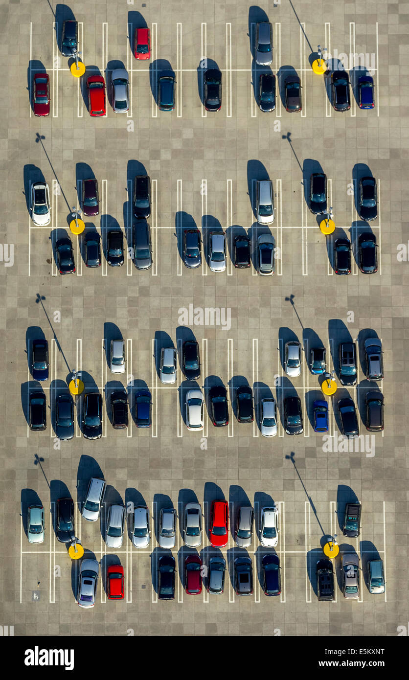 Aerial view, parked cars, North Rhine-Westphalia, Germany - Stock Image