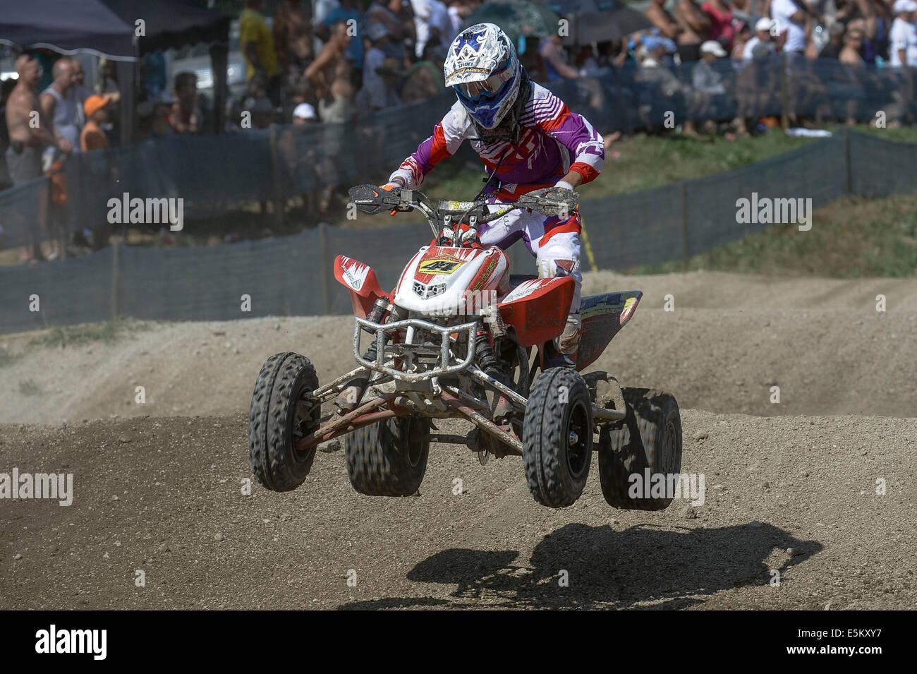 Kivioli. 3rd Aug, 2014. Daniil Vlasov of Russia competes during the MAXXIS Quadcross European Championship held - Stock Image