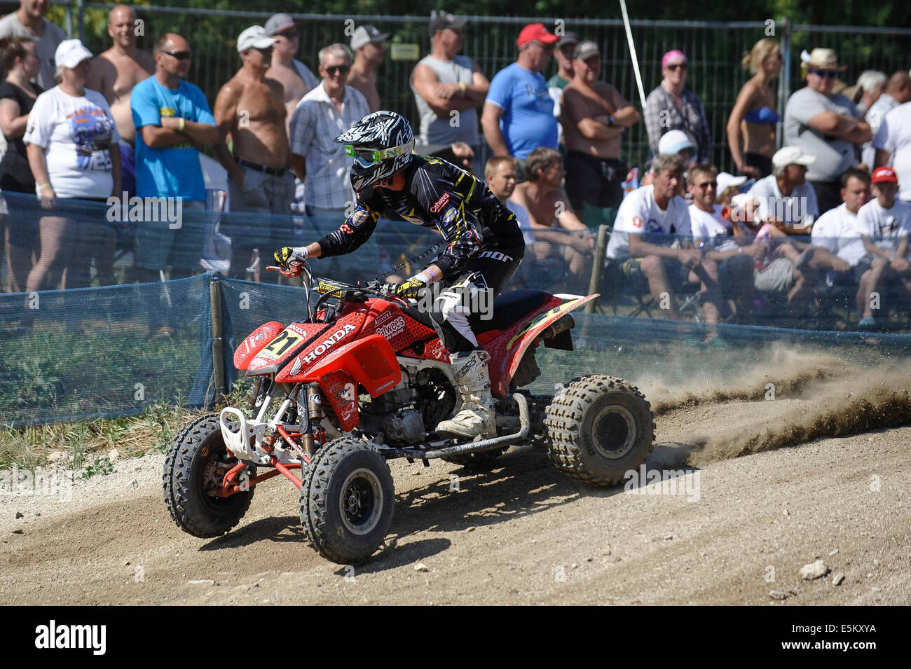 Kivioli. 3rd Aug, 2014. Nicklas Thomsen of Sweden competes during the MAXXIS Quadcross European Championship held - Stock Image