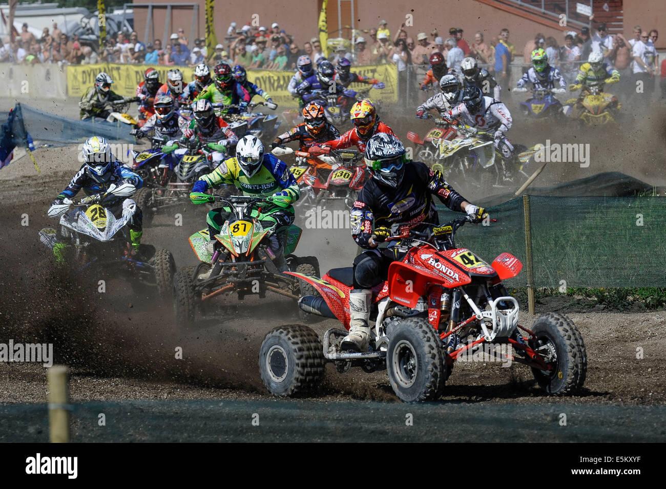 Kivioli. 3rd Aug, 2014. Riders compete during the MAXXIS Quadcross European Championship held in Kivioli, Estonia - Stock Image
