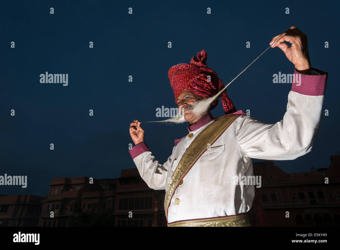 Local man proudly presenting his long mustache, Rajput people, Jaipur, Rajasthan, India Stock Photo