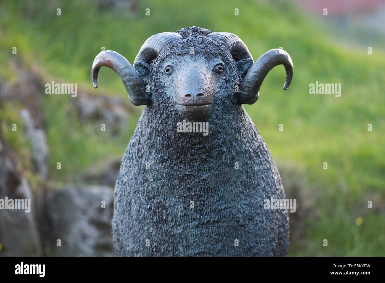 Statue of a ram, heraldic animal of the Faroe Islands, Tórshavn, Streymoy, Faroe Islands, Denmark - Stock Image