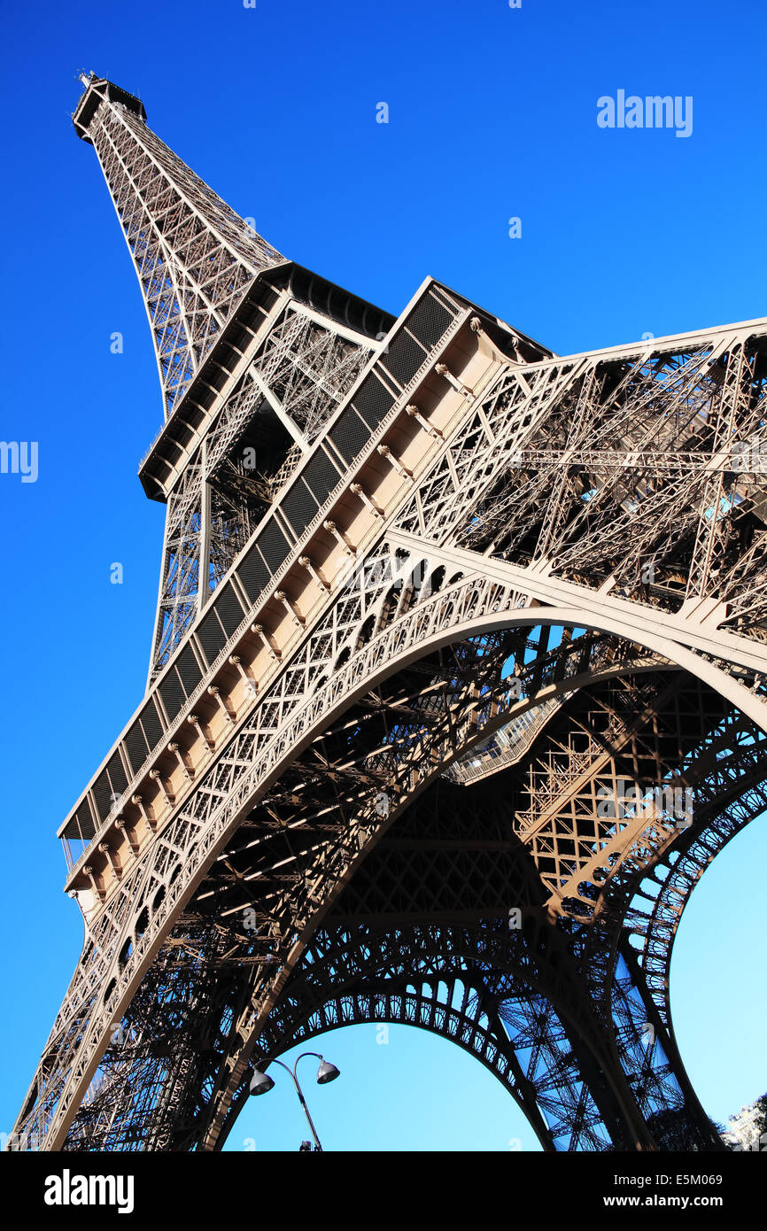 The Eiffel Tower at the Champ-De Mars in Paris, France, which is 300m tall and built in 1889 - Stock Image
