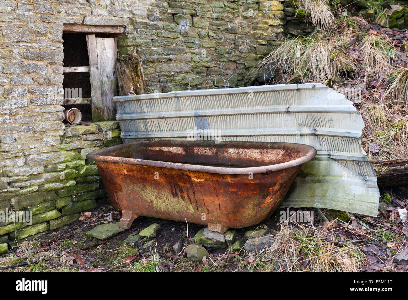 Old Cast Iron Bath Used As A Drinking Trough On An Abandoned Welsh Hill  Farm