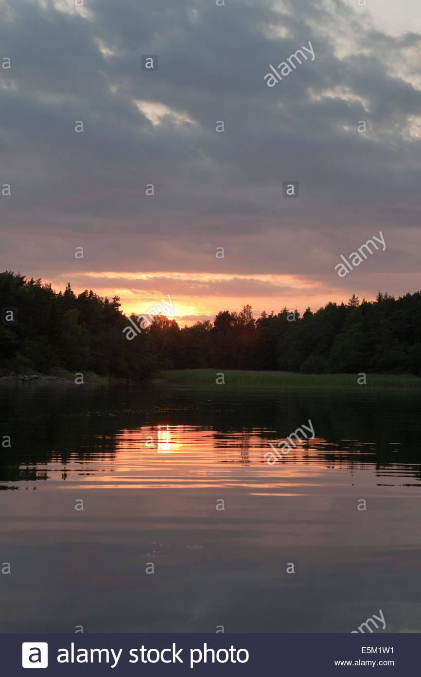 Beautiful summer evening in the archipelago of Turku Finland - Stock Image