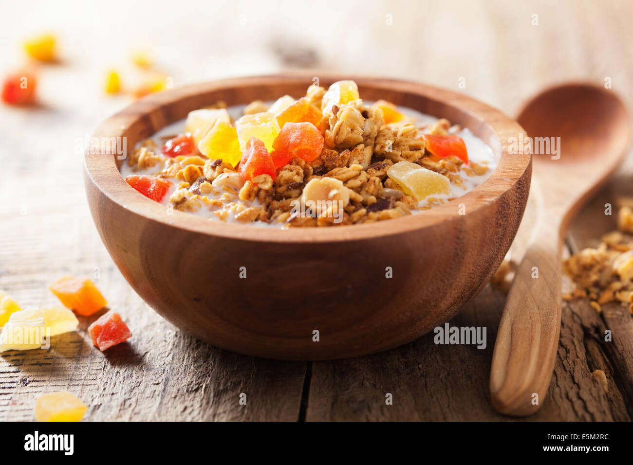 healthy granola with dry fruits for breakfast - Stock Image