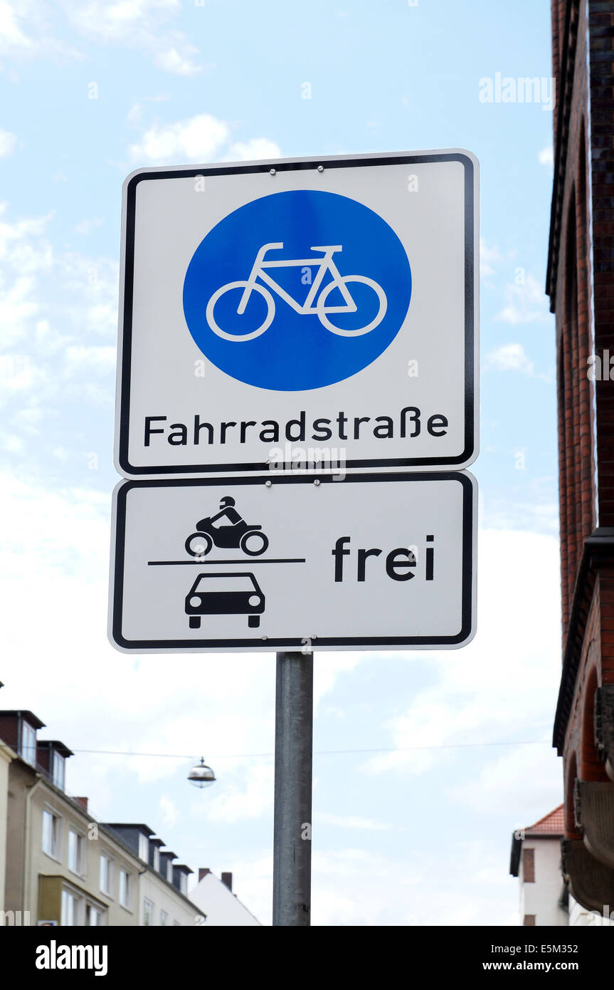 German traffic sign for a Bicycle Road - Stock Image