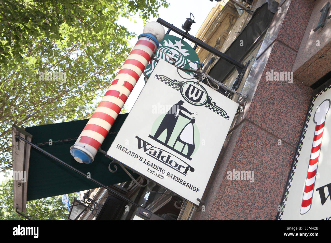 Barbers pole Dublin - Stock Image