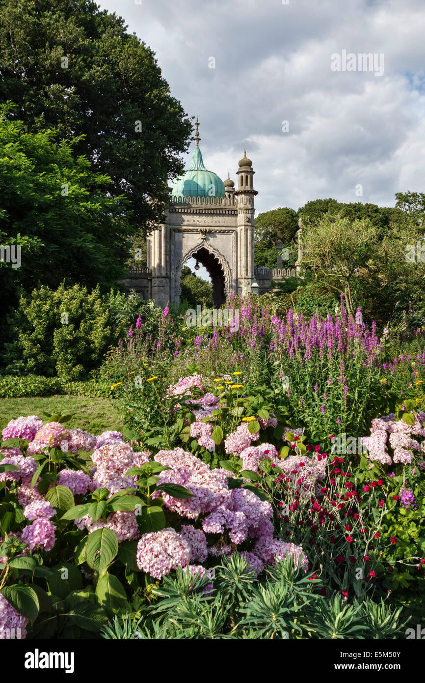 A corner of the gardens surrounding the 18c Royal Pavilion in Brighton, East Sussex, UK - Stock Image