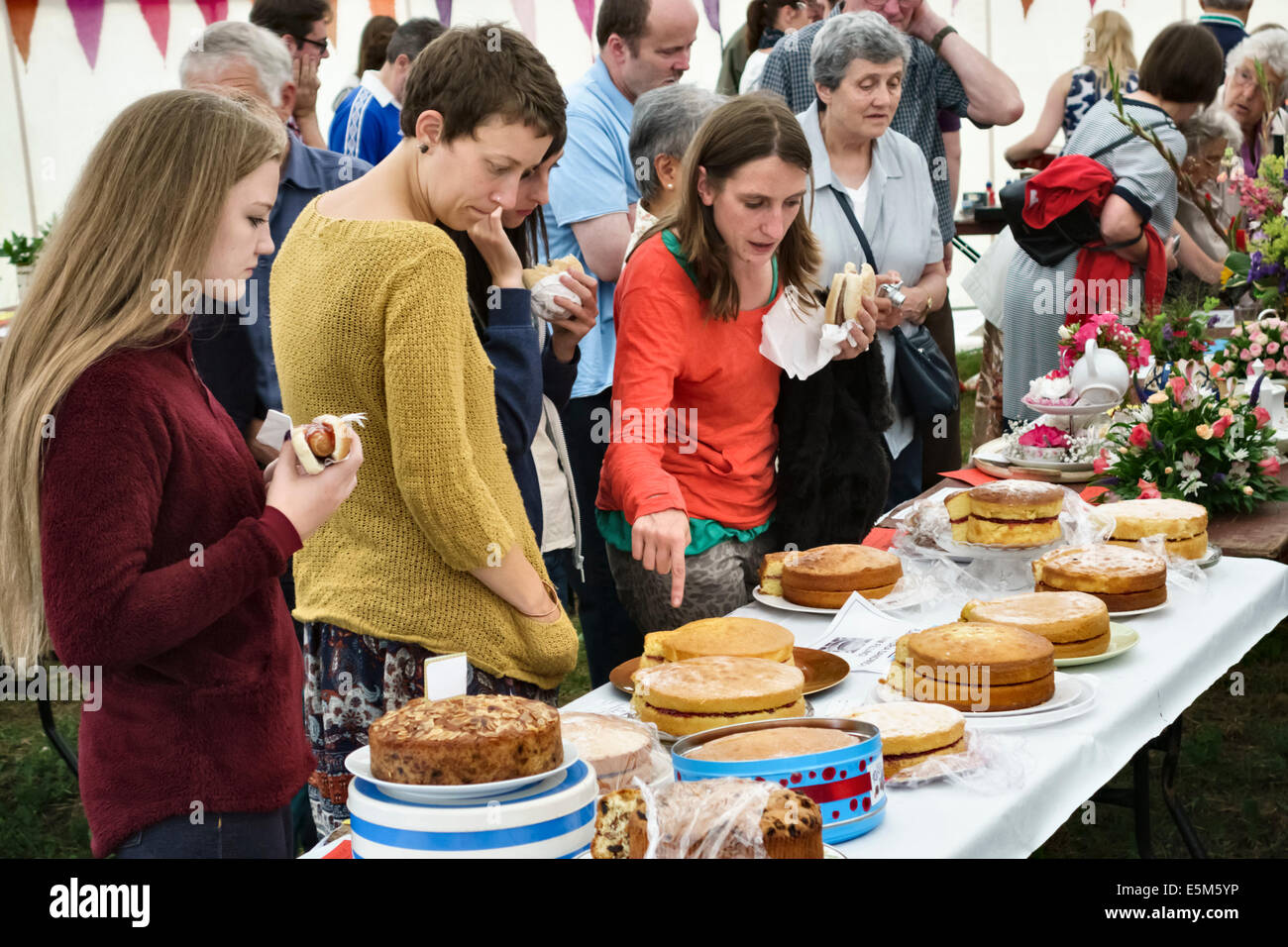 Inspecting home made sponge cakes at a village fete, UK - Stock Image