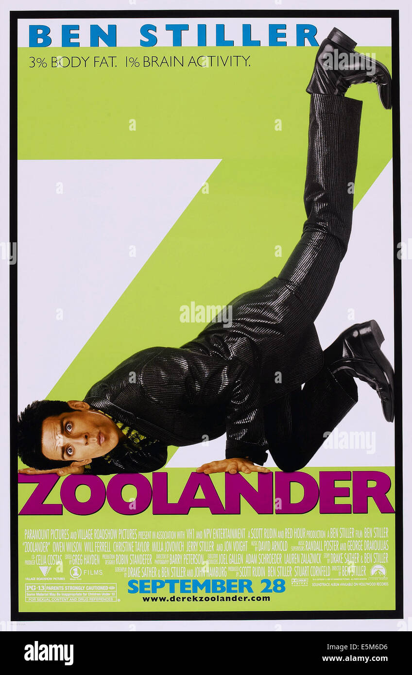 ZOOLANDER, US advance poster art, Ben Stiller, 2001, © Paramount/courtesy Everett Collection - Stock Image