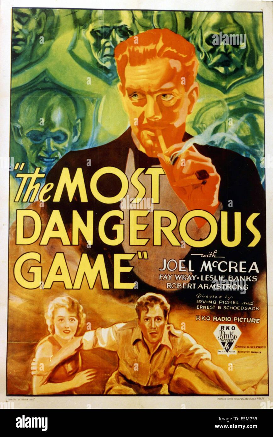 THE MOST DANGEROUS GAME, Fay Wray, Leslie Banks, Joel McCrea, 1932 - Stock Image