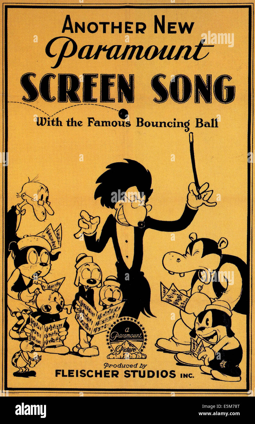 SCREEN SONGS, poster advertising SCREEN SONGS cartoons by