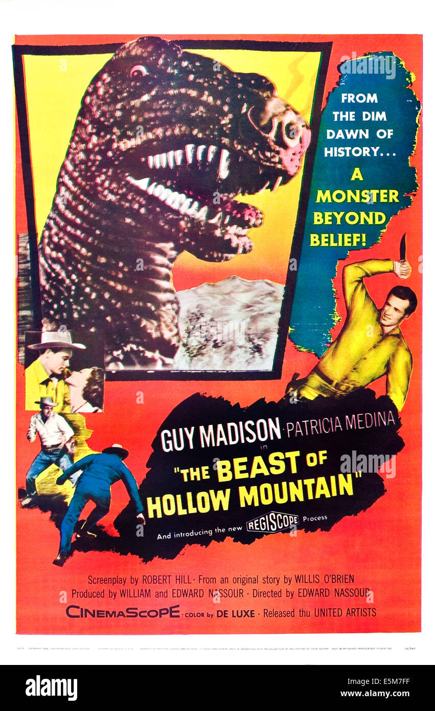 THE BEAST OF HOLLOW MOUNTAIN, US poster, Guy Madison,  1956. - Stock Image