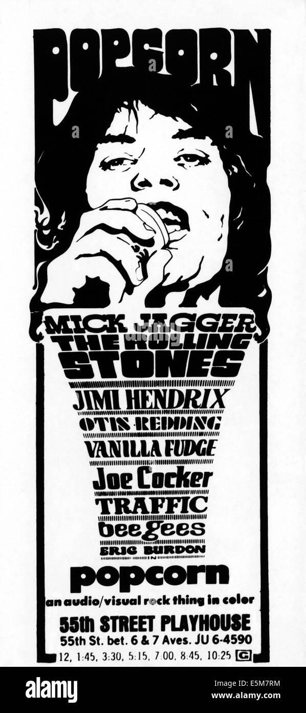 POPCORN, Mick Jagger, 1969 - Stock Image
