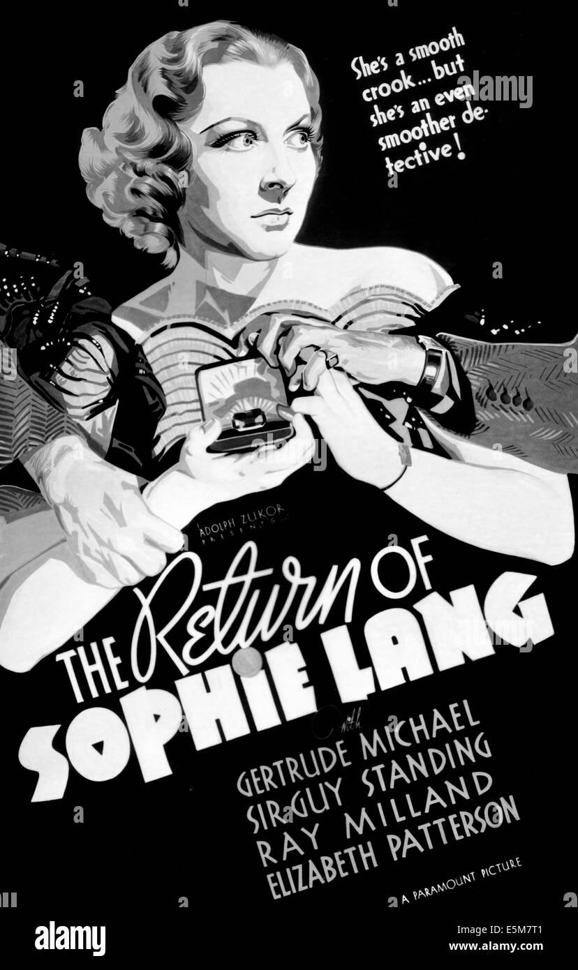 THE RETURN OF SOPHIE LANG, Gertrude Michael, 1936 - Stock Image