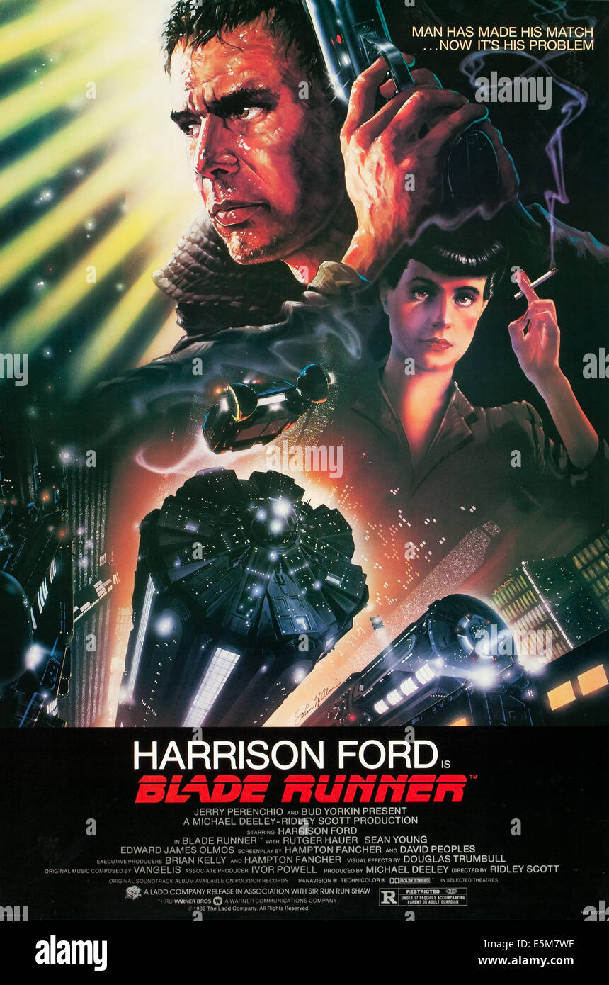 BLADE RUNNER, US poster art, from top left: Harrison Ford, Sean Young, 1982, ©Warner Brothers / Courtesy: Everett - Stock Image
