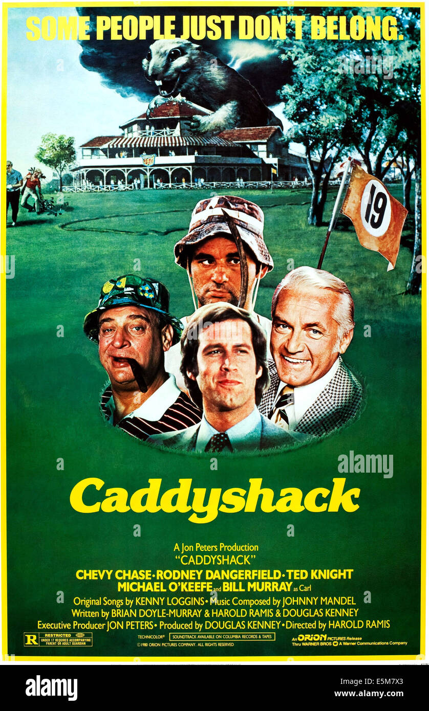 CADDYSHACK, US poster art, from left: Rodney Dangerfield, Bill Murray, Chevy Chase, Ted Knight, 1980, ©Orion - Stock Image