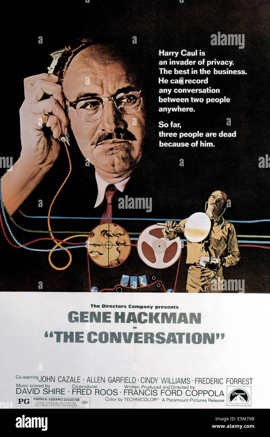 THE CONVERSATION, Gene Hackman, 1974 - Stock Image