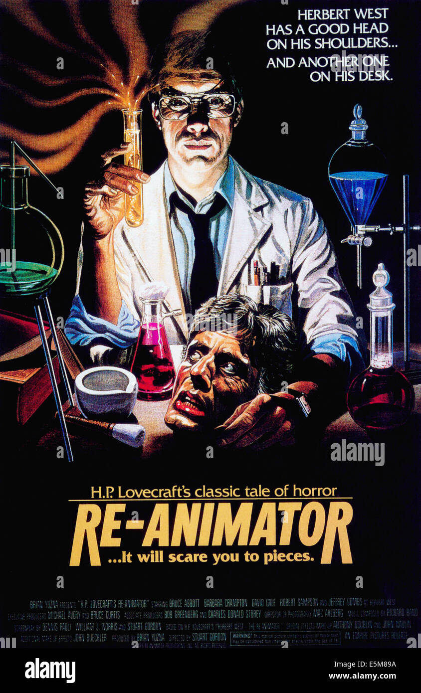 RE-ANIMATOR, Jeffrey Combs, 1985, © Empire Pictures/courtesy Everett Collection - Stock Image