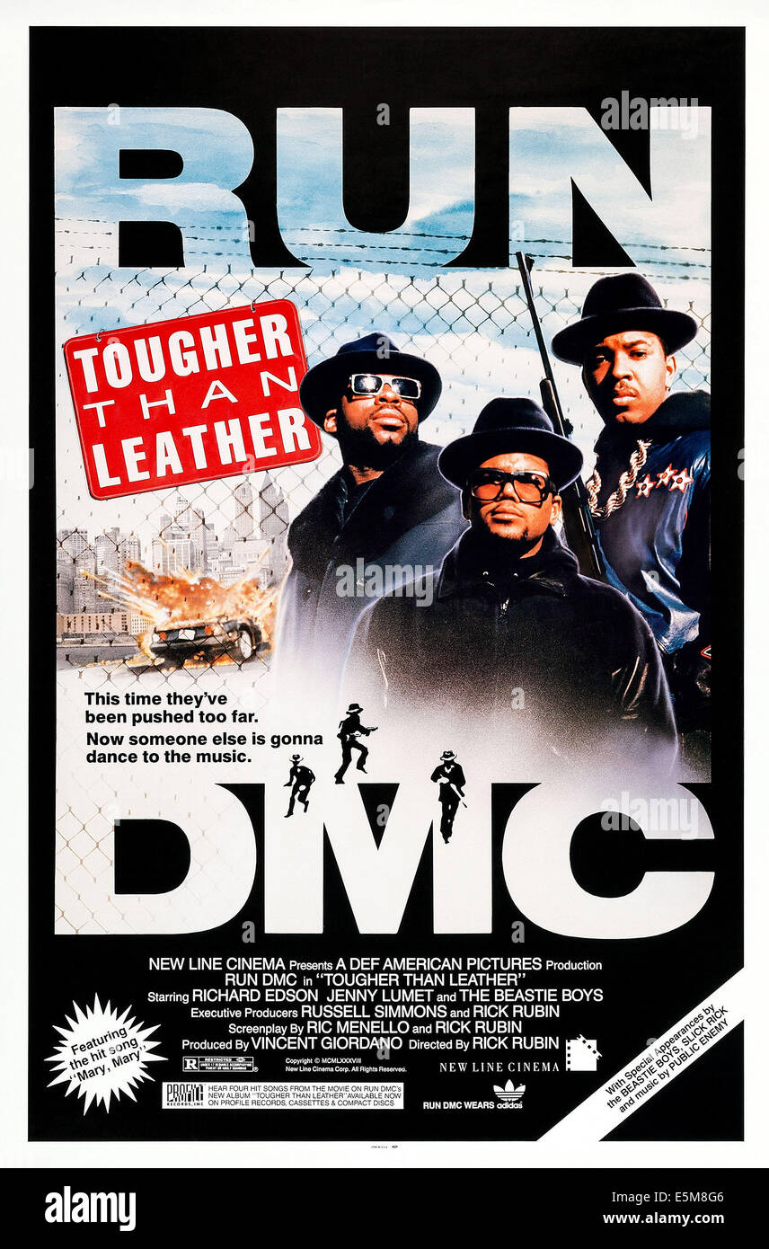 TOUGHER THAN LEATHER, US poster art, Jason Mizell ('Jam Master Jay'), Darryl McDaniels, Joseph Simmons, - Stock Image