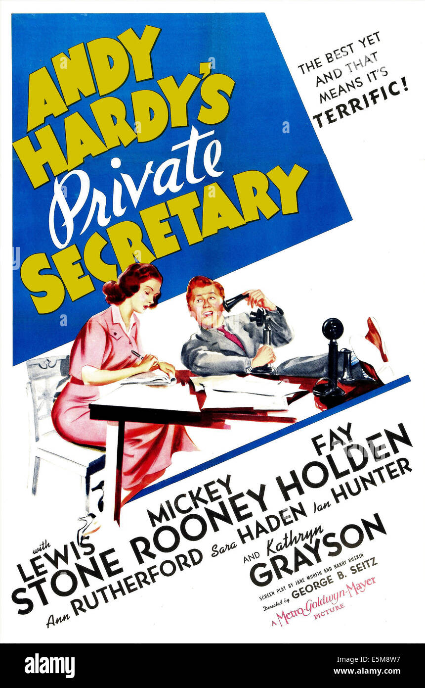 ANDY HARDY'S PRIVATE SECRETARY, US poster, Kathryn Grayson, Mickey Rooney, 1941 - Stock Image