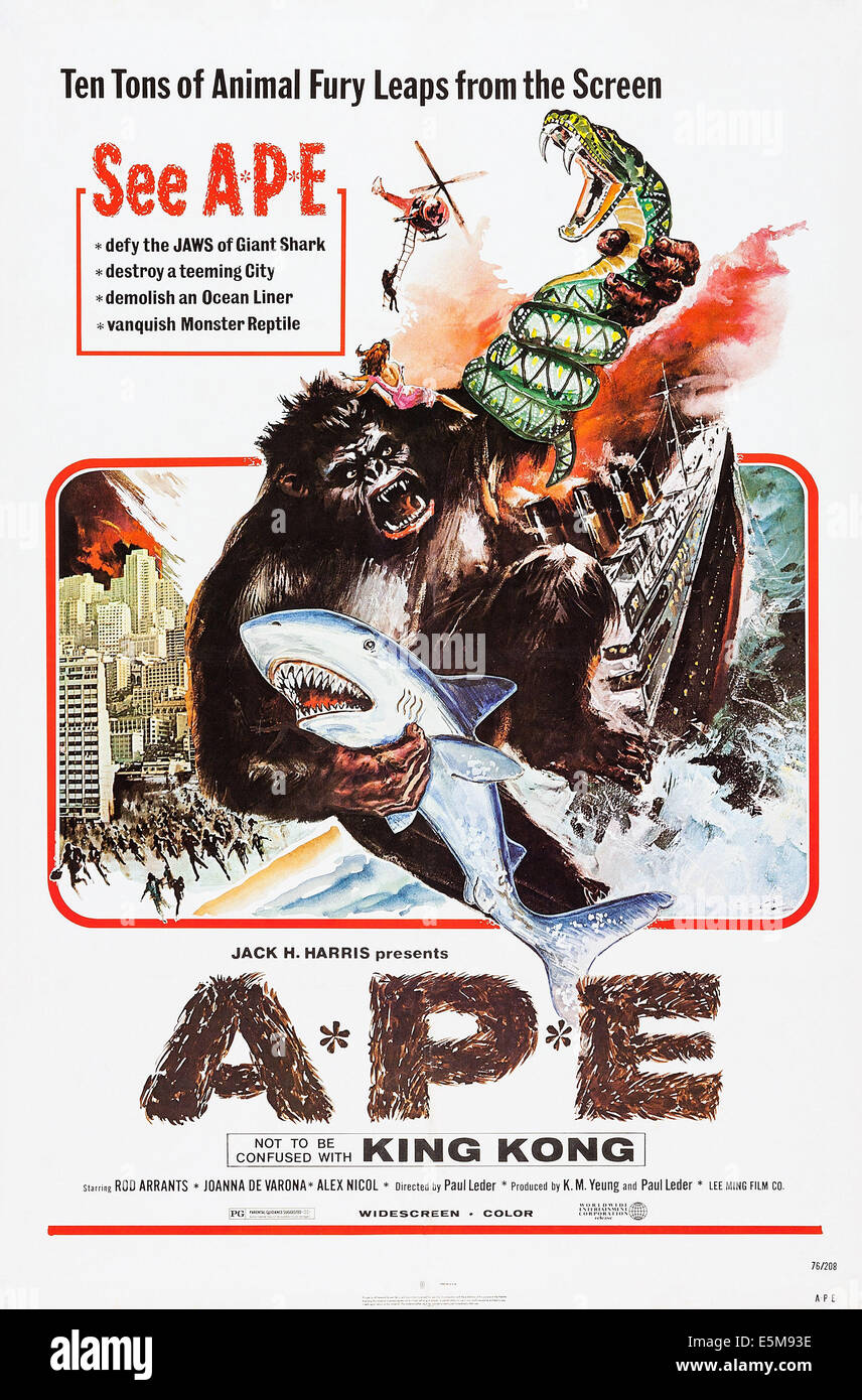 THE APE, poster art, 1976. - Stock Image