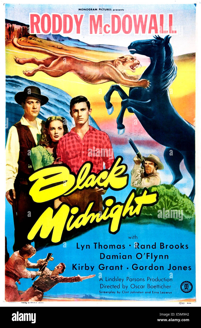 BLACK MIDNIGHT, US poster, middle from left: Damian O'Flynn, Lyn Thomas, Roddy McDowall, 1949 - Stock Image