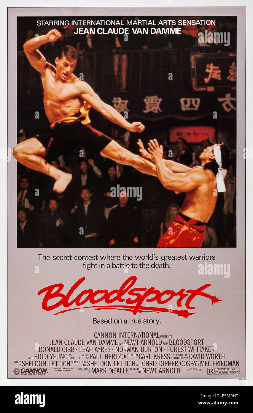 BLOODSPORT, US poster art, from left: Jean-Claude Van Damme, Bolo Yeung, 1988, © Cannon/courtesy Everett Collection - Stock Image