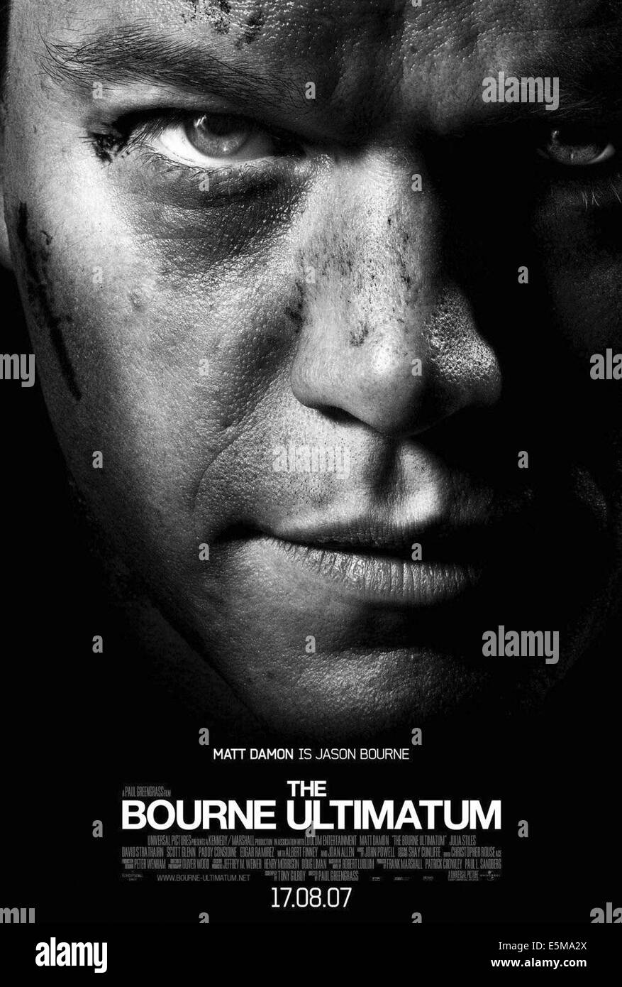 THE BOURNE ULTIMATUM, Matt Damon, 2007. ©Universal Pictures/courtesy Everett Collection - Stock Image