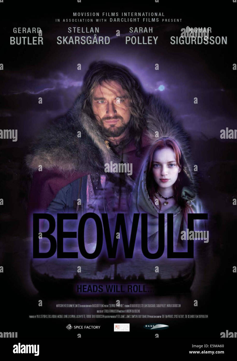 BEOWULF & GRENDEL, (aka BEOWULF), poster art, from left: Gerard Butler, Sarah Polley, 2005. ©Union Station - Stock Image